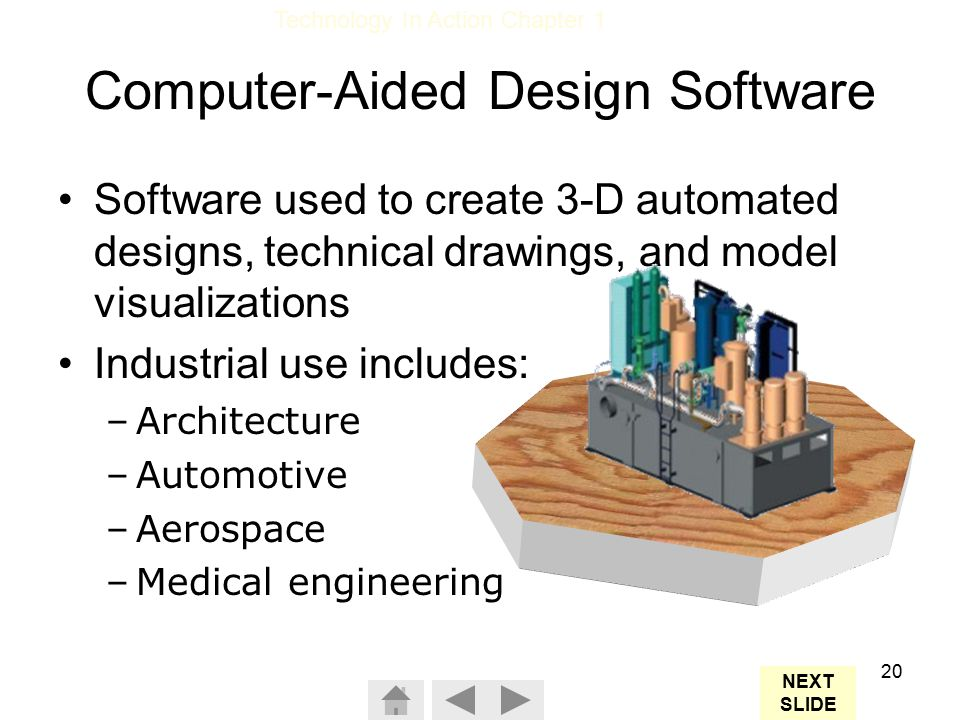 Technology In Action Chapter 1 20 Computer-Aided Design Software Software used to create 3-D automated designs, technical drawings, and model visualizations Industrial use includes: –Architecture –Automotive –Aerospace –Medical engineering NEXT SLIDE