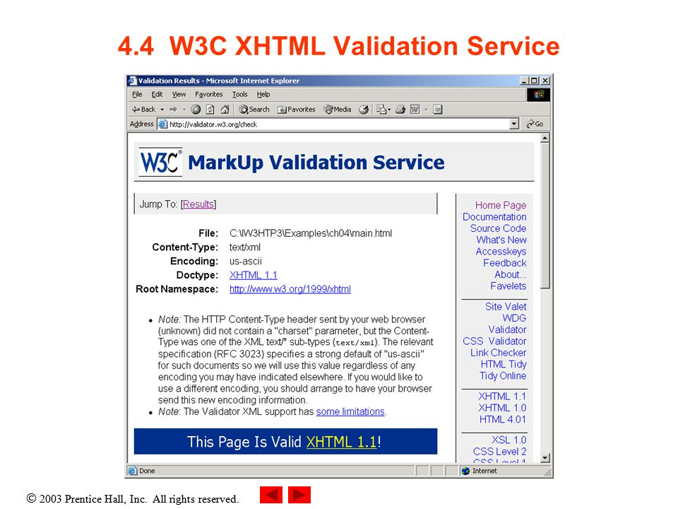  2003 Prentice Hall, Inc. All rights reserved. 4.4 W3C XHTML Validation Service