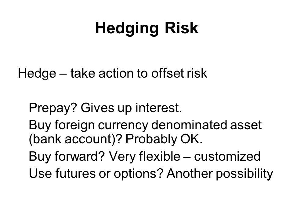 Hedging Risk Hedge – take action to offset risk Prepay.