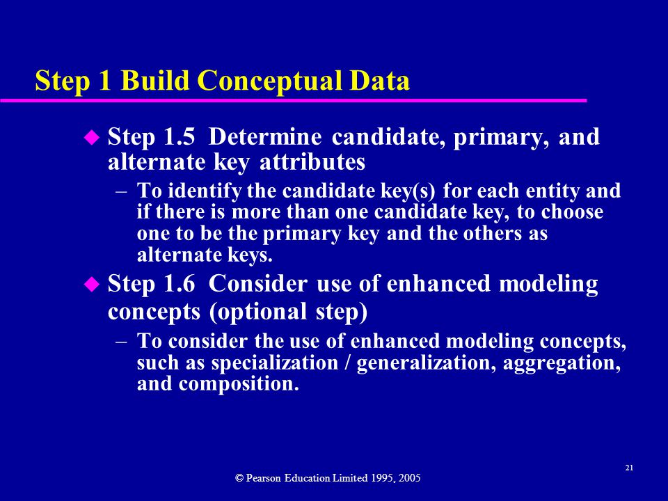 21 Step 1 Build Conceptual Data u Step 1.5 Determine candidate, primary, and alternate key attributes –To identify the candidate key(s) for each entity and if there is more than one candidate key, to choose one to be the primary key and the others as alternate keys.
