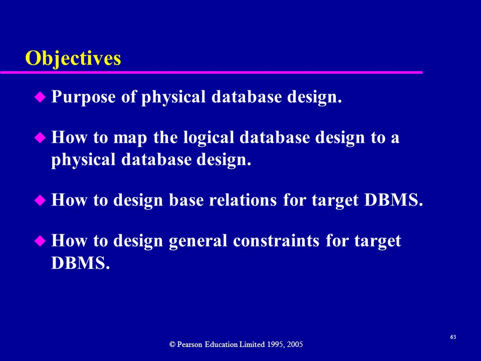 63 Objectives u Purpose of physical database design.