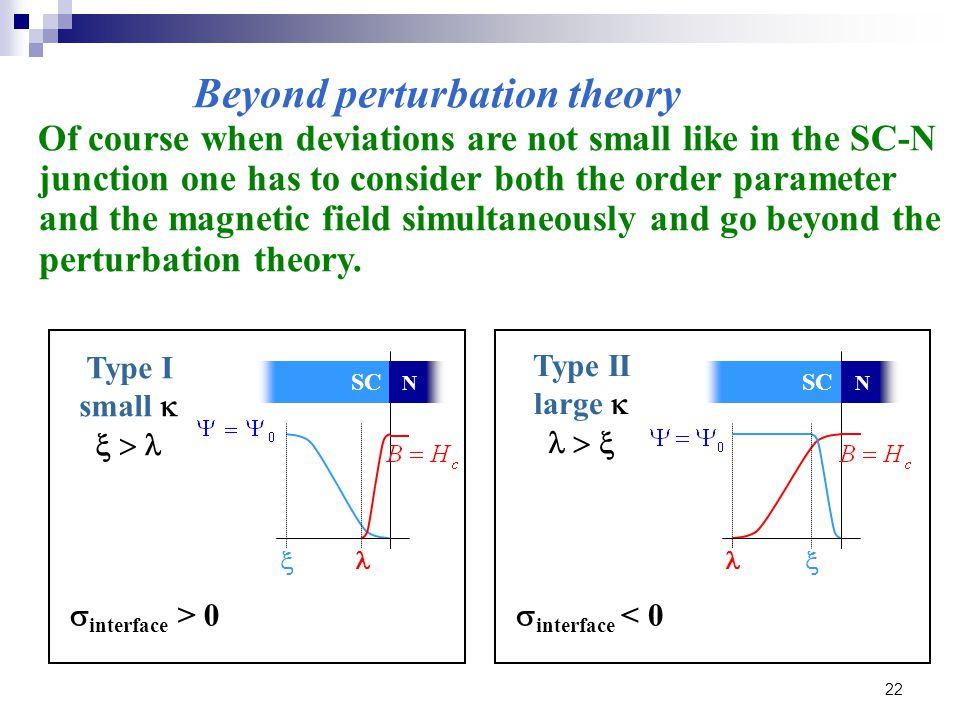 22 Of course when deviations are not small like in the SC-N junction one has to consider both the order parameter and the magnetic field simultaneously and go beyond the perturbation theory.
