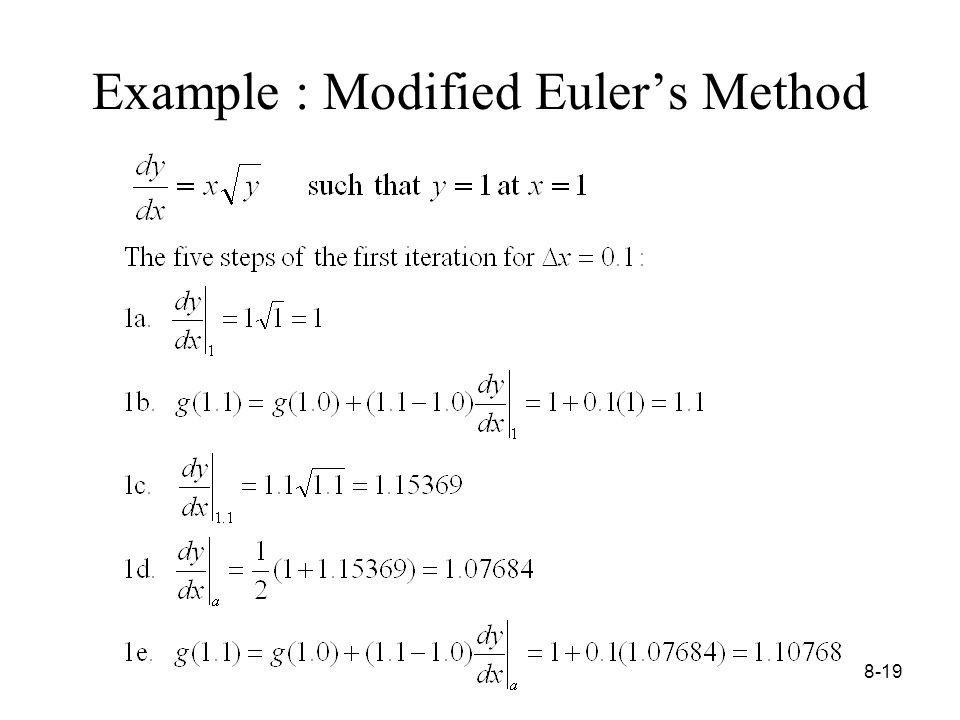 8-19 Example : Modified Euler's Method