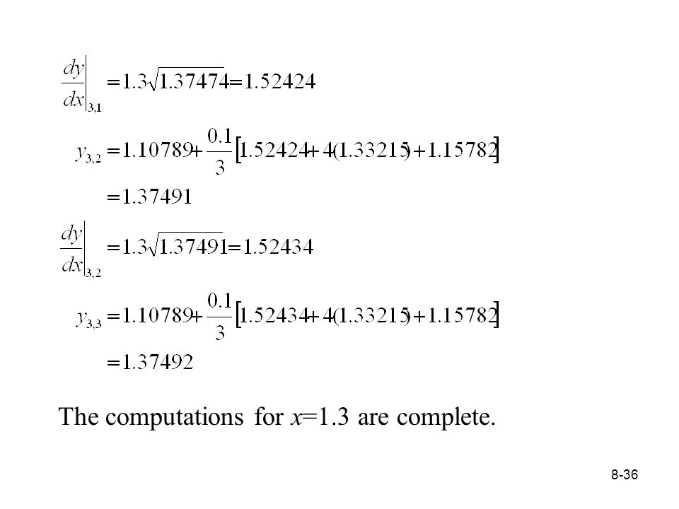 8-36 The computations for x=1.3 are complete.