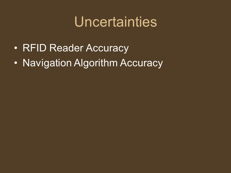 Uncertainties RFID Reader Accuracy Navigation Algorithm Accuracy