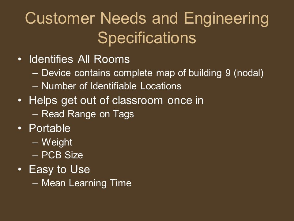 Customer Needs and Engineering Specifications Identifies All Rooms –Device contains complete map of building 9 (nodal) –Number of Identifiable Locations Helps get out of classroom once in –Read Range on Tags Portable –Weight –PCB Size Easy to Use –Mean Learning Time