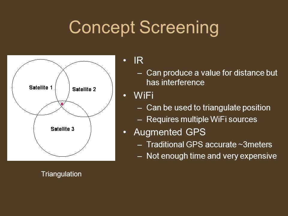 Concept Screening IR –Can produce a value for distance but has interference WiFi –Can be used to triangulate position –Requires multiple WiFi sources Augmented GPS –Traditional GPS accurate ~3meters –Not enough time and very expensive Triangulation