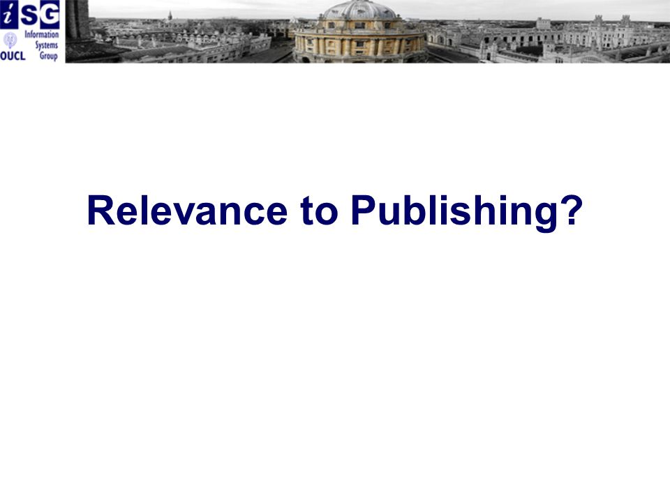 Relevance to Publishing