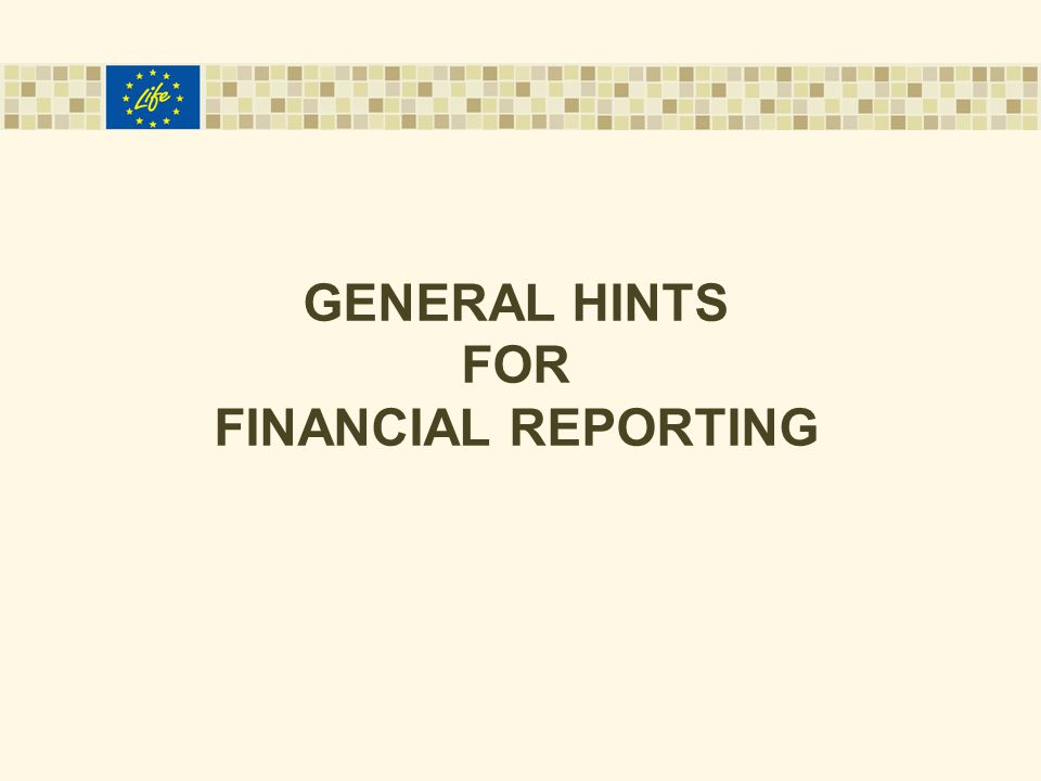 GENERAL HINTS FOR FINANCIAL REPORTING