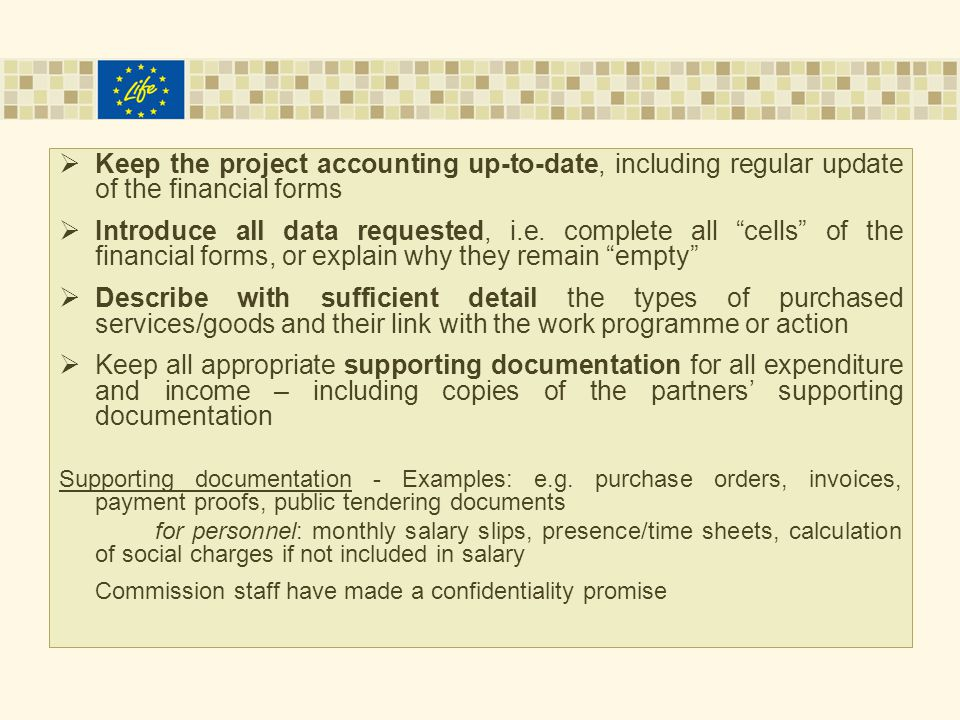  Keep the project accounting up-to-date, including regular update of the financial forms  Introduce all data requested, i.e.