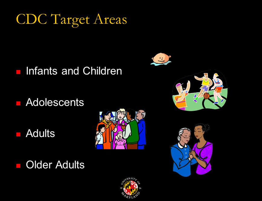 CDC Target Areas Infants and Children Adolescents Adults Older Adults
