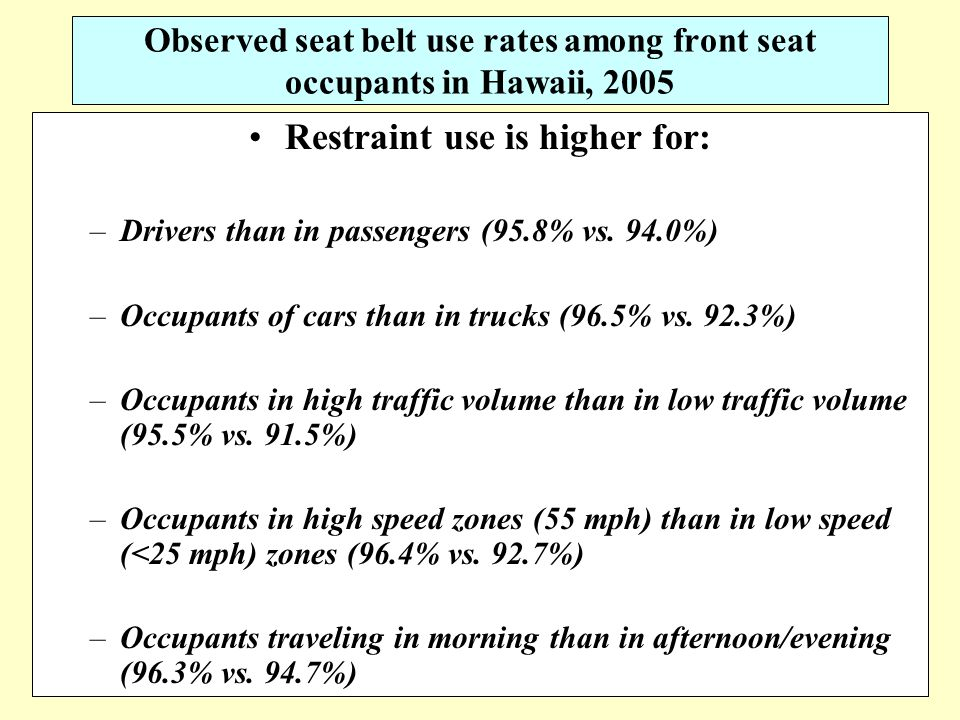 16 Observed seat belt use rates among front seat occupants in Hawaii, 2005 Restraint use is higher for: –Drivers than in passengers (95.8% vs.