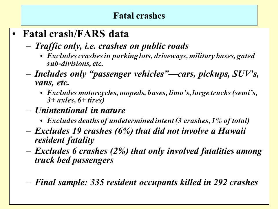 19 Fatal crashes Fatal crash/FARS data –Traffic only, i.e.