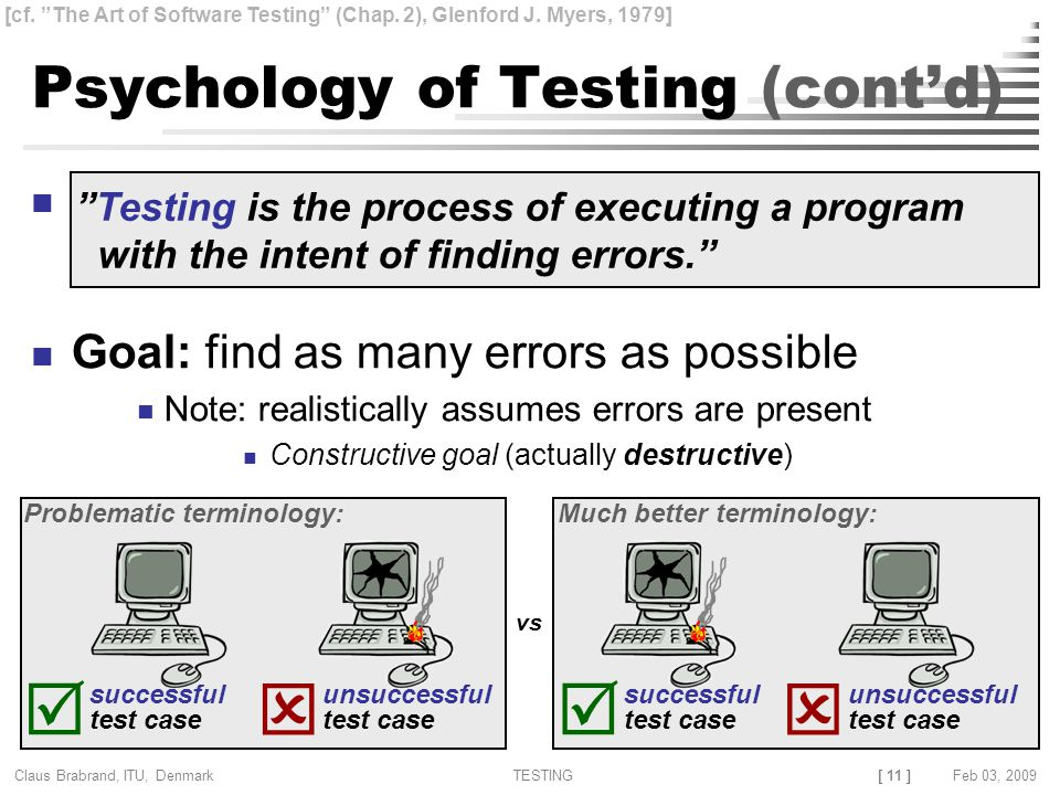 [ 11 ] Claus Brabrand, ITU, Denmark TESTINGFeb 03, 2009   successful test case unsuccessful test case Problematic terminology:   successful test case unsuccessful test case Much better terminology: Psychology of Testing (cont'd) Goal: find as many errors as possible Note: realistically assumes errors are present Constructive goal (actually destructive) Testing is the process of executing a program with the intent of finding errors. vs [cf.
