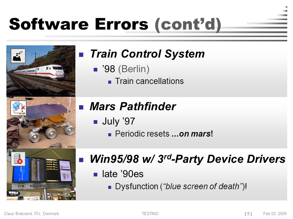 [ 5 ] Claus Brabrand, ITU, Denmark TESTINGFeb 03, 2009 z z Software Errors (cont'd) Train Control System '98 (Berlin) Train cancellations Mars Pathfinder July '97 Periodic resets Win95/98 w/ 3 rd -Party Device Drivers late '90es Dysfunction ( blue screen of death )!...on mars!