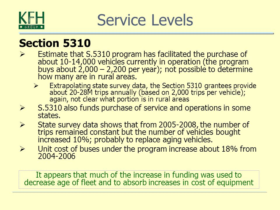 Section 5310  Estimate that S.5310 program has facilitated the purchase of about 10-14,000 vehicles currently in operation (the program buys about 2,000 – 2,200 per year); not possible to determine how many are in rural areas.