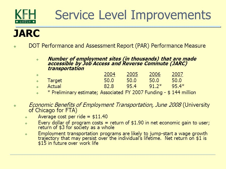 JARC  DOT Performance and Assessment Report (PAR) Performance Measure  Number of employment sites (in thousands) that are made accessible by Job Access and Reverse Commute (JARC) transportation   Target  Actual *95.4*  * Preliminary estimate; Associated FY 2007 Funding - $ 144 million  Economic Benefits of Employment Transportation, June 2008 (University of Chicago for FTA)  Average cost per ride = $11.40  Every dollar of program costs = return of $1.90 in net economic gain to user; return of $3 for society as a whole  Employment transportation programs are likely to jump-start a wage growth trajectory that may persist over the individual's lifetime.