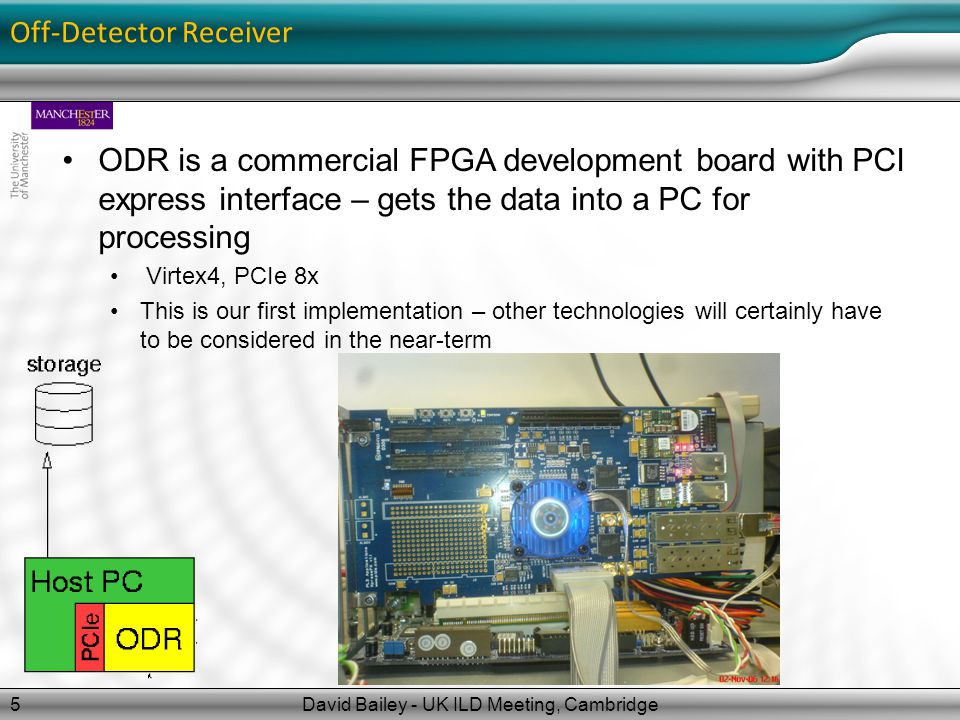 Off-Detector Receiver David Bailey - UK ILD Meeting, Cambridge5 ODR is a commercial FPGA development board with PCI express interface – gets the data into a PC for processing Virtex4, PCIe 8x This is our first implementation – other technologies will certainly have to be considered in the near-term