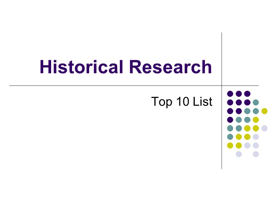 Historical Research Top 10 List