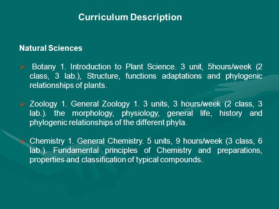 Curriculum Description Natural Sciences  Botany 1.