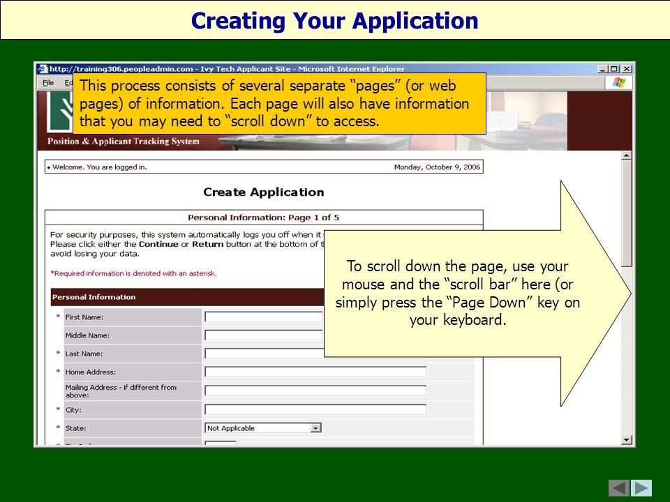 This process consists of several separate pages (or web pages) of information.
