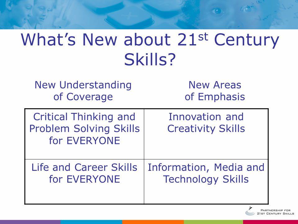 Critical Thinking and Problem Solving Skills for EVERYONE Innovation and Creativity Skills Life and Career Skills for EVERYONE Information, Media and Technology Skills New Understanding of Coverage New Areas of Emphasis What's New about 21 st Century Skills
