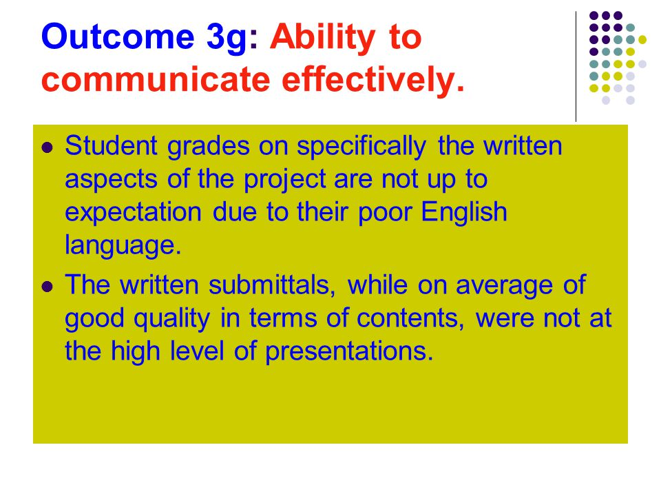 Outcome 3g: Ability to communicate effectively.