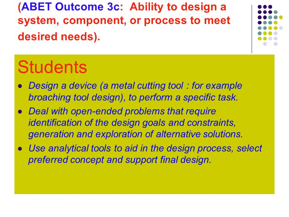 (ABET Outcome 3c: Ability to design a system, component, or process to meet desired needs).