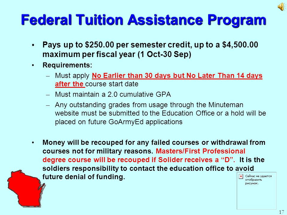 I was awarded tuition assistance by my employer (federal) and it was never honored.?