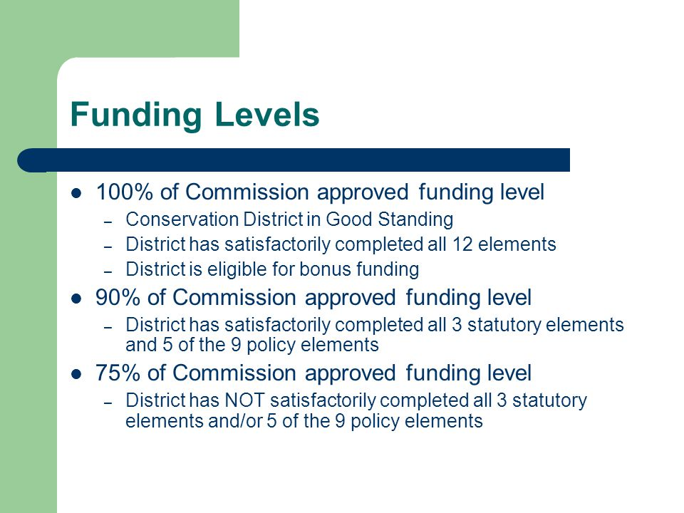 Funding Levels 100% of Commission approved funding level – Conservation District in Good Standing – District has satisfactorily completed all 12 elements – District is eligible for bonus funding 90% of Commission approved funding level – District has satisfactorily completed all 3 statutory elements and 5 of the 9 policy elements 75% of Commission approved funding level – District has NOT satisfactorily completed all 3 statutory elements and/or 5 of the 9 policy elements