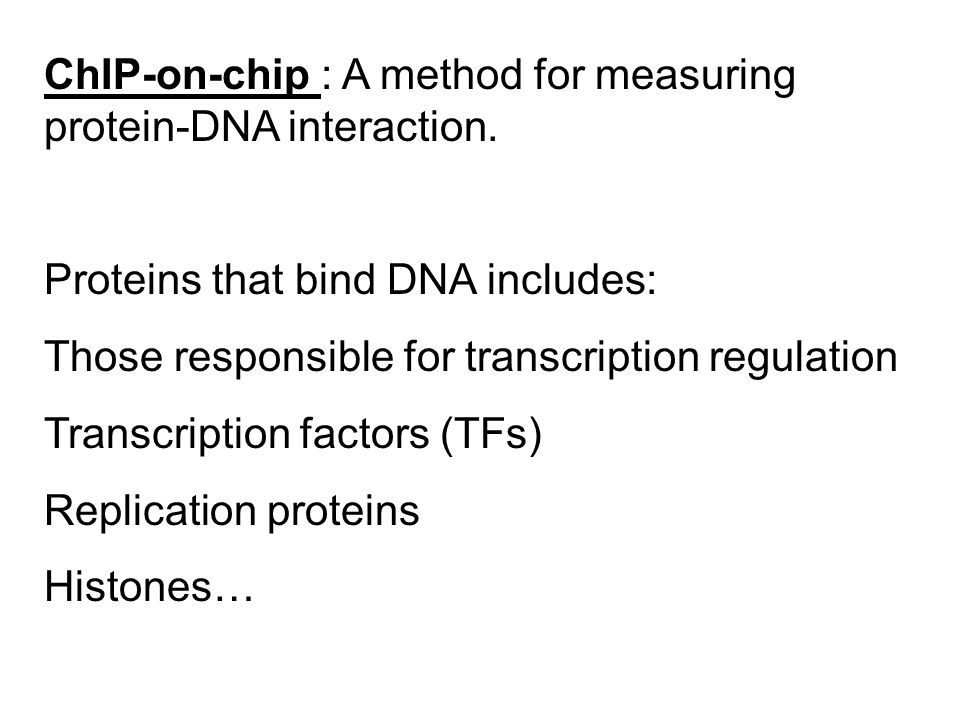 ChIP-on-chip : A method for measuring protein-DNA interaction.
