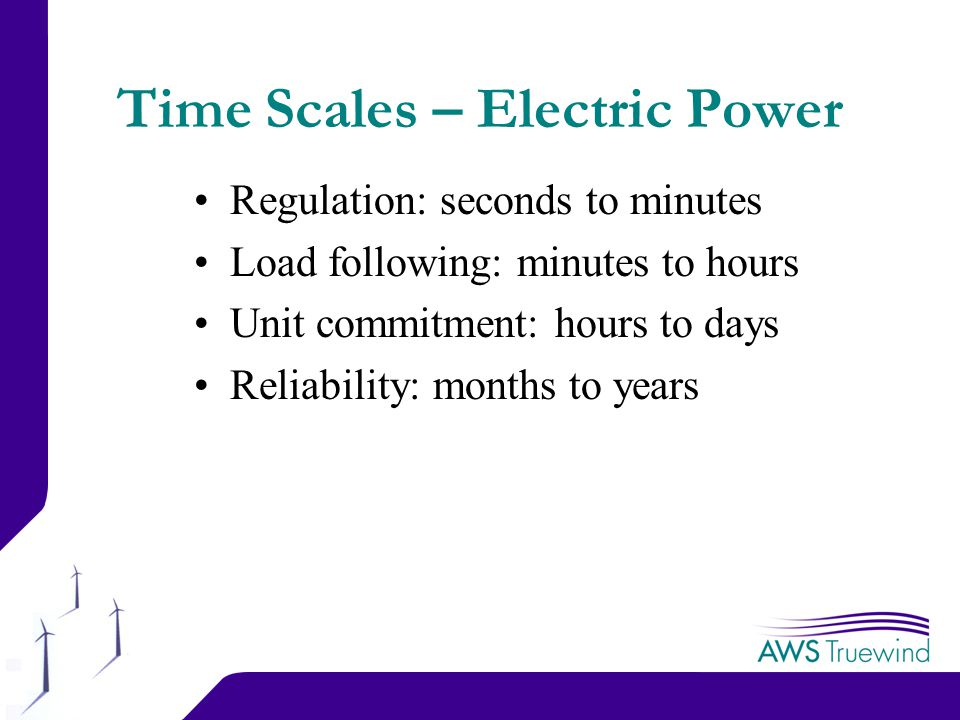 3 Time Scales – Electric Power Regulation: seconds to minutes Load following: minutes to hours Unit commitment: hours to days Reliability: months to years