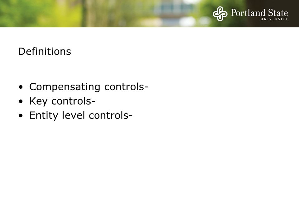 Definitions Compensating controls- Key controls- Entity level controls-