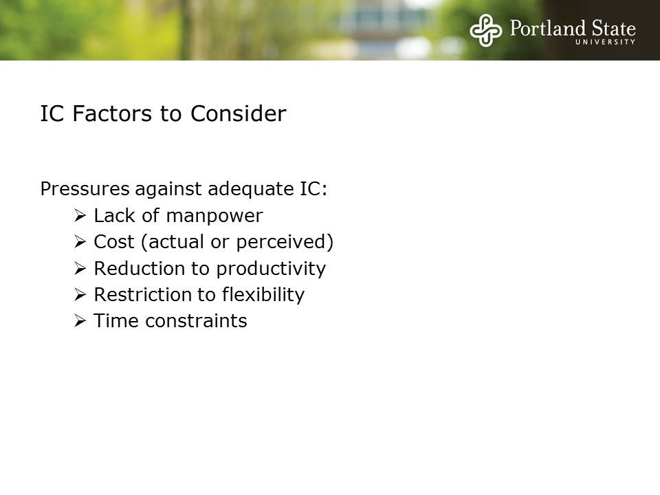 IC Factors to Consider Pressures against adequate IC:  Lack of manpower  Cost (actual or perceived)  Reduction to productivity  Restriction to flexibility  Time constraints