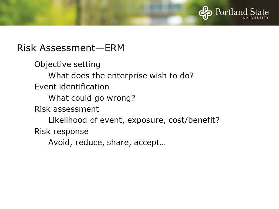 Risk Assessment—ERM Objective setting What does the enterprise wish to do.
