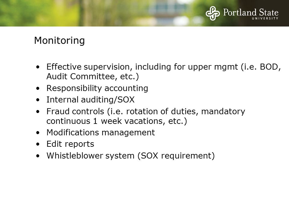 Monitoring Effective supervision, including for upper mgmt (i.e.