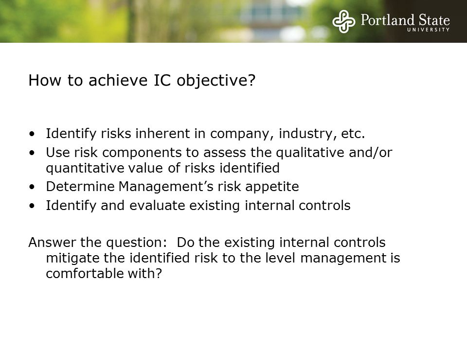 How to achieve IC objective. Identify risks inherent in company, industry, etc.