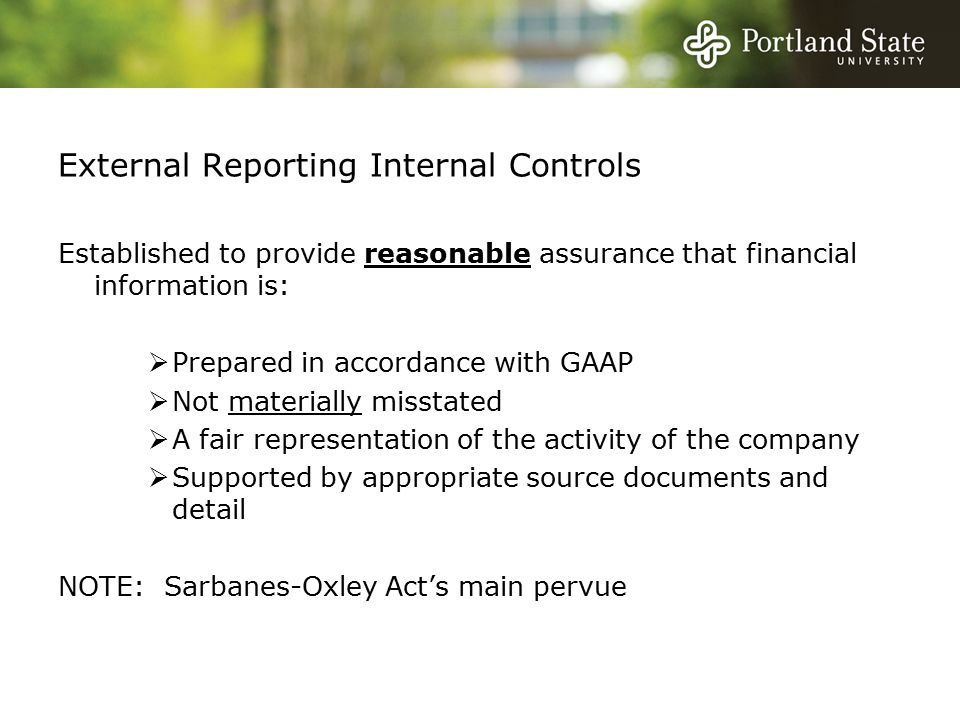 External Reporting Internal Controls Established to provide reasonable assurance that financial information is:  Prepared in accordance with GAAP  Not materially misstated  A fair representation of the activity of the company  Supported by appropriate source documents and detail NOTE: Sarbanes-Oxley Act's main pervue