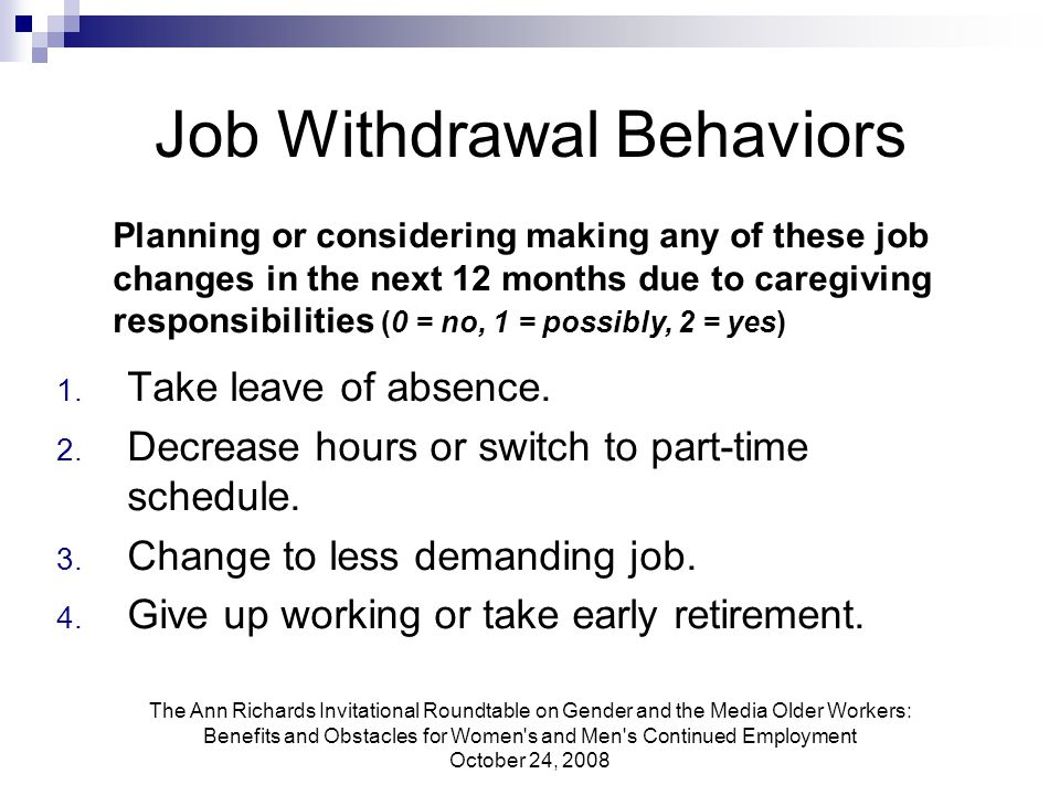 The Ann Richards Invitational Roundtable on Gender and the Media Older Workers: Benefits and Obstacles for Women s and Men s Continued Employment October 24, 2008 Job Withdrawal Behaviors 1.