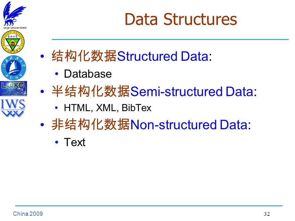 China Data Structures 结构化数据 Structured Data: Database 半结构化数据 Semi-structured Data: HTML, XML, BibTex 非结构化数据 Non-structured Data: Text