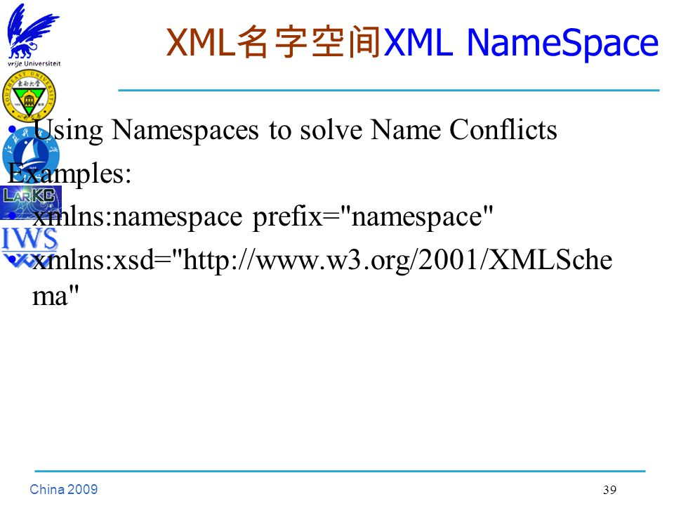 China XML 名字空间 XML NameSpace Using Namespaces to solve Name Conflicts Examples: xmlns:namespace prefix= namespace xmlns:xsd=   ma