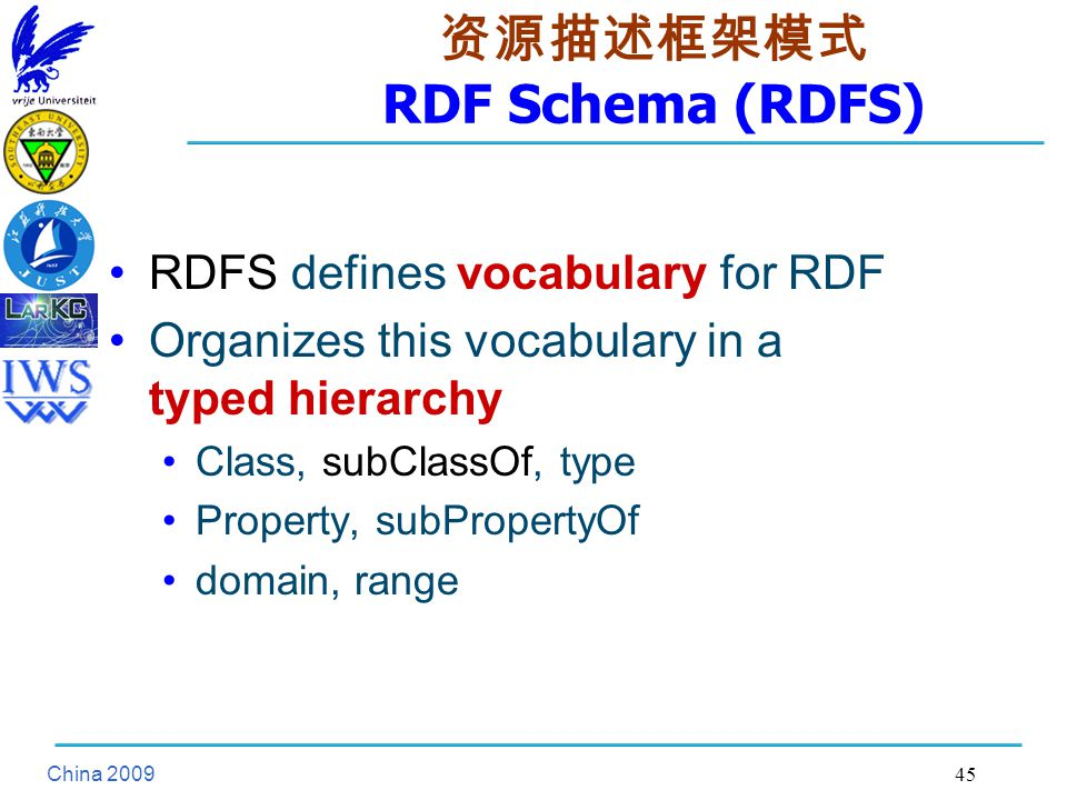 China 资源描述框架模式 RDF Schema (RDFS) RDFS defines vocabulary for RDF Organizes this vocabulary in a typed hierarchy Class, subClassOf, type Property, subPropertyOf domain, range