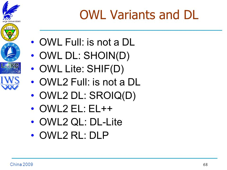 China OWL Variants and DL OWL Full: is not a DL OWL DL: SHOIN(D) OWL Lite: SHIF(D) OWL2 Full: is not a DL OWL2 DL: SROIQ(D) OWL2 EL: EL++ OWL2 QL: DL-Lite OWL2 RL: DLP