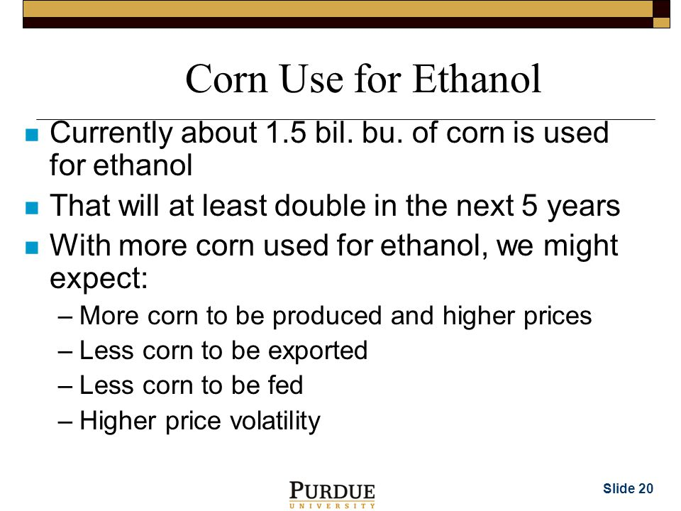 Slide 20 Corn Use for Ethanol n Currently about 1.5 bil.