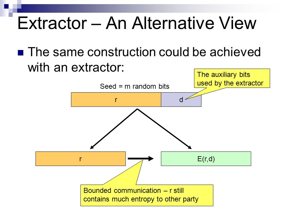 Extractor – An Alternative View The same construction could be achieved with an extractor: rd Seed = m random bits rE(r,d) The auxiliary bits used by the extractor Bounded communication – r still contains much entropy to other party