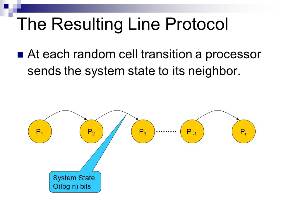 The Resulting Line Protocol P1P1 P2P2 P3P3 P r-1 PrPr System State O(log n) bits At each random cell transition a processor sends the system state to its neighbor.
