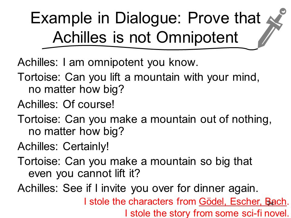 Example in Dialogue: Prove that Achilles is not Omnipotent Achilles: I am omnipotent you know.