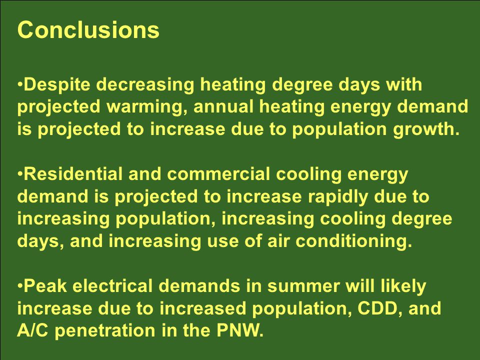 Conclusions Despite decreasing heating degree days with projected warming, annual heating energy demand is projected to increase due to population growth.