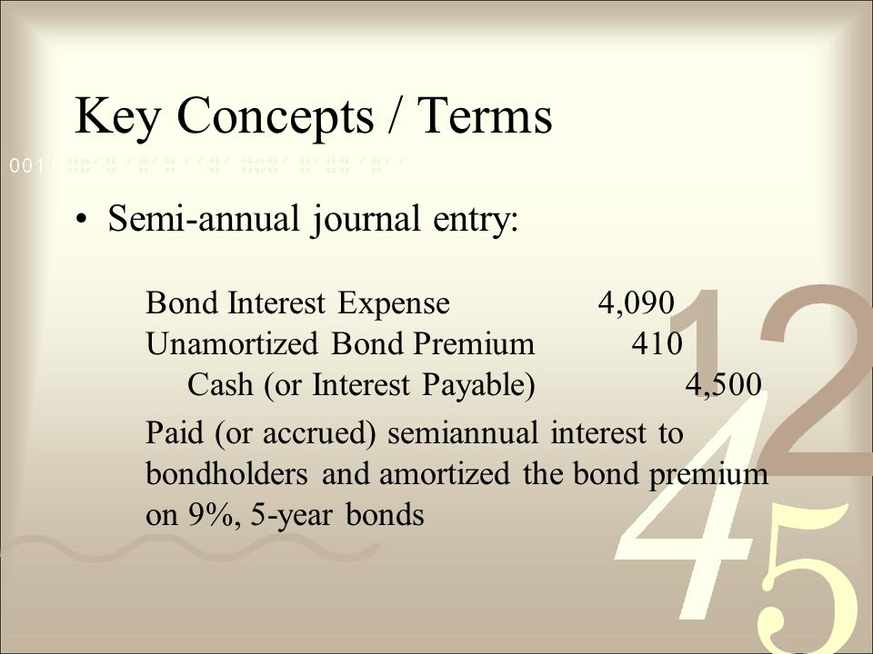 Key Concepts / Terms Semi-annual journal entry: Bond Interest Expense4,090 Unamortized Bond Premium 410 Cash (or Interest Payable)4,500 Paid (or accrued) semiannual interest to bondholders and amortized the bond premium on 9%, 5-year bonds