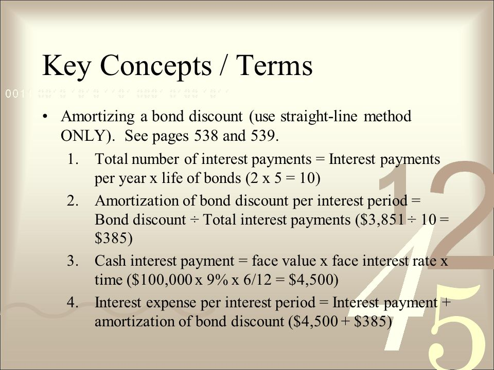 Key Concepts / Terms Amortizing a bond discount (use straight-line method ONLY).